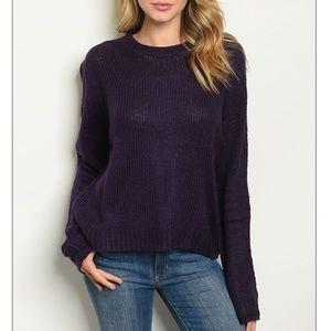 Dark purple crewneck knit pull over sweater.